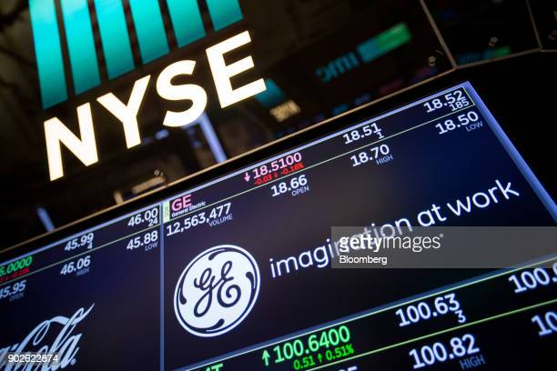 A monitor displays General Electric Co signage on the floor of the New York Stock Exchange in New York US on Monday Jan 8 2018 US stocks were mixed...