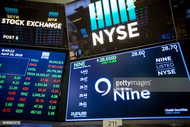 A monitor displays Nine Energy Service Inc signage on the floor of the New York Stock Exchange in New York US on Monday April 16 2018 US stocks...