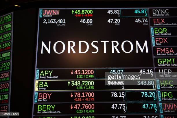 A monitor displays Nordstrom Inc signage on the floor of the New York Stock Exchange in New York US on Friday May 18 2018 US stocks fluctuated the...