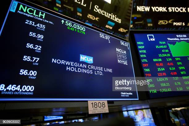 A monitor displays Norwegian Cruise Line Holdings Ltd signage on the floor of the New York Stock Exchange in New York US on Thursday Jan 11 2018 US...
