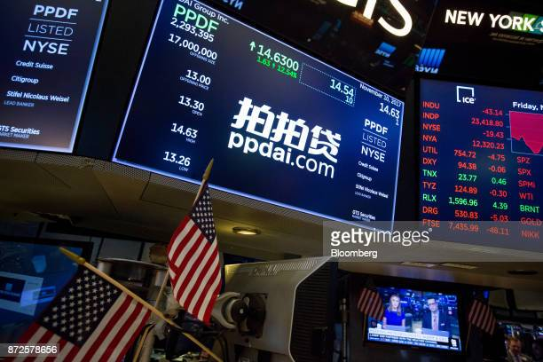 A monitor displays PPDAI Group Inc signage on the floor of the New York Stock Exchange in New York US on Friday Nov 10 2017 Treasuries fell for a...