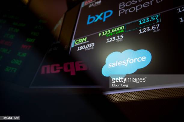 A monitor displays Salesforcecom Inc signage on the floor of the New York Stock Exchange in New York US on Monday April 23 2018 The dollar rallied at...