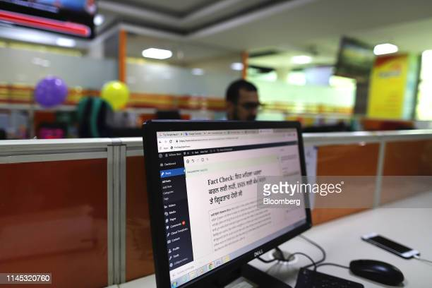 A monitor displays script in the Gurmukhi language in the office of Vishwas News operated by Jagran New Media in New Delhi India on Friday May 17...