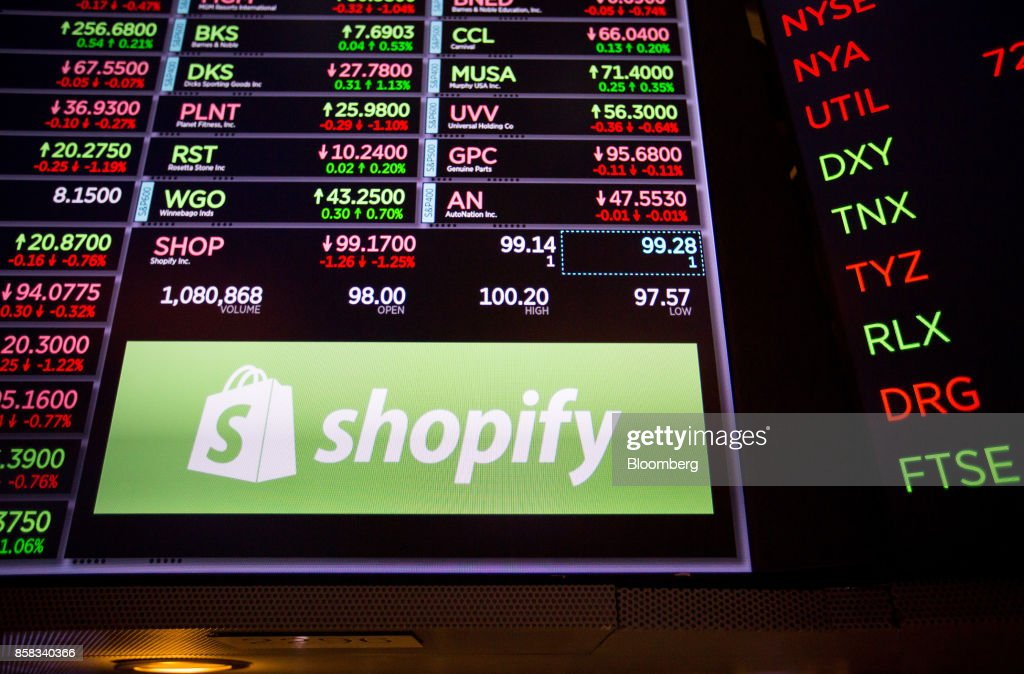 A monitor displays Shopify Inc.. signage on the floor of the New York Stock Exchange (NYSE) in New York, U.S., on Friday, Oct. 6, 2017. U.S. stocks edged lower while the dollar rose with Treasury yields after American payrolls contracted for the first time since 2010 and hourly wages spiked higher. Photographer: Michael Nagle/Bloomberg via Getty Images