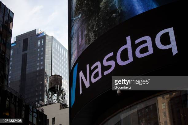 A monitor displays signage outside the Nasdaq MarketSite in the Times Square neighborhood of New York US on Monday Dec 17 2018 Healthcare and...
