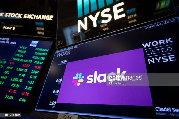 Monitor displays Slack Technologies Inc. Signage during the company's initial public offering on the floor of the New York Stock Exchange in New...
