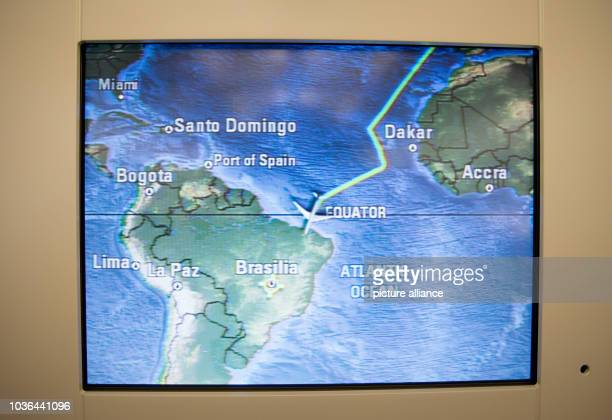 A monitor displays the air route from Berlin to Brasilia in the Airbus A340 of the airforce in Brasilia Brazil 19 August 2015 Chancellor Angela...