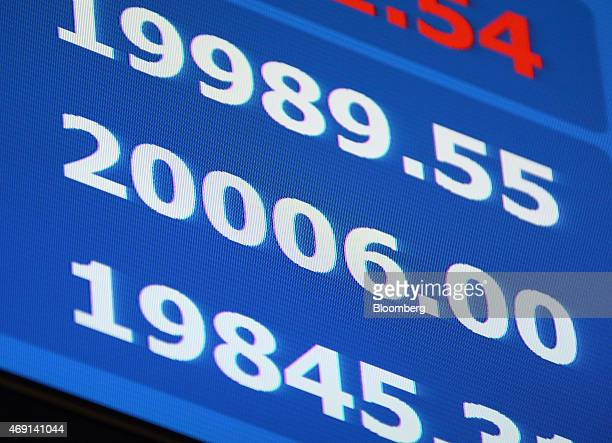 A monitor displays the day's highest price of the Nikkei 225 Stock Average center at the Tokyo Stock Exchange operated by Japan Exchange Group Inc in...