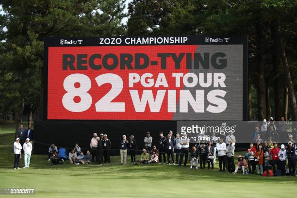 A monitor displays Tiger Woods of the United States achieved the 82nd carrier victory in the PGA Tour tying Sam Snead after the final round of the...