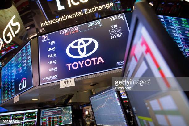 A monitor displays Toyota Motor Corp signage on the floor of the New York Stock Exchange in New York US on Friday May 18 2018 US stocks fluctuated...