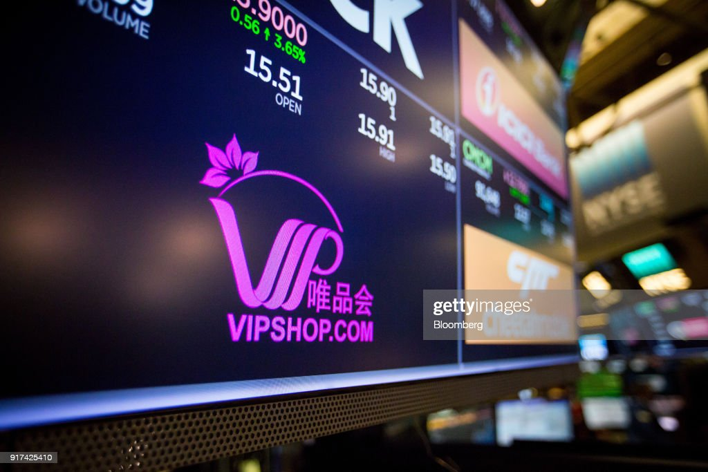 A monitor displays Vipshop Holdings Ltd  signage on the