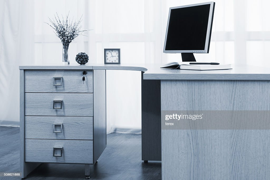 monitor on desk : Stock Photo