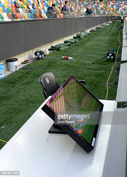 VAR monitor on the picht during the U19 International Friendly match between Italy and Spain at Dacia Arena on January 18 2017 in Udine Italy