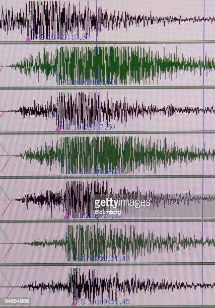 A monitor screen of earthquake waves is pictured at the Japan Meteorological Agency in Tokyo Japan on Thursday November 30 2006 Tsunami warnings last...