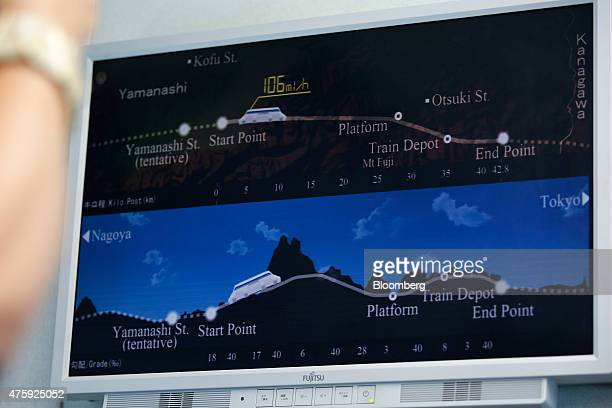 A monitor showing the running route of the L0 series magnetic levitation train developed by Central Japan Railway Co is seen inside the train as it...