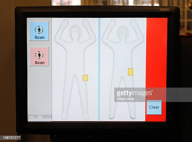 A monitor shows a generic body image from an advanced image technology millimeter wave scanner using new Automated Target Recognition software being...