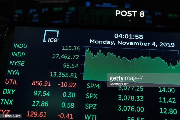 A monitor shows the closing numbers on the floor of the New York Stock Exchange on November 04 2019 in New York City US stocks finished at records...