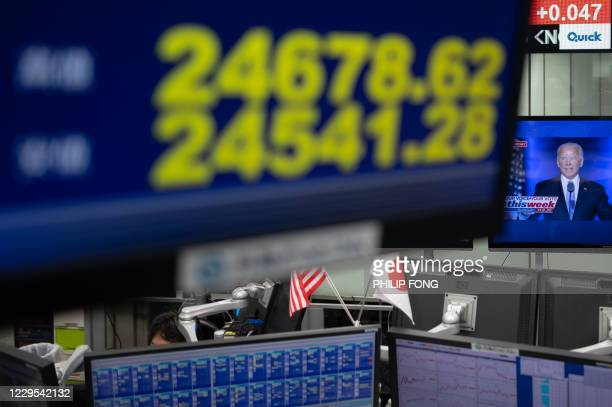 Monitor shows the Nikkei 225 index as a screen shows a programme featuring US President-elect Joe Biden , at a foreign exchange trading company in...
