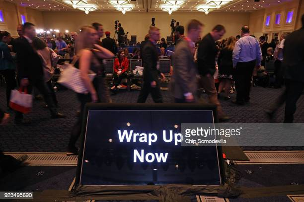 A monitor with instruction for speakers sits in front of the stage during the Conservative Political Action Conference at the Gaylord National Resort...