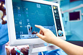 Monitoring patient's vital sign in operating room. doctor cheking at patient's vital signs. Cardiogram monitor during surgery in operation room.