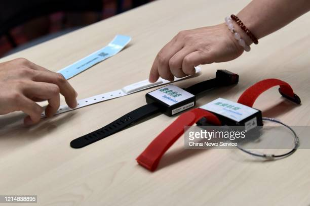Monitoring wristbands for people under quarantine amid coronavirus outbreak are seen on March 25 2020 in Hong Kong China