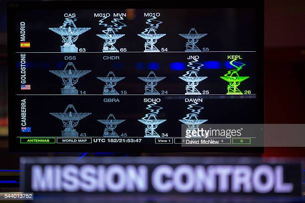 Monitors are seen in the mission control room of the JPL Space Flight Operations Facility at JPL as NASA officials and the public look forward to the...