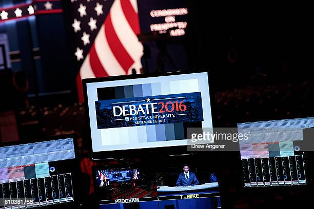 Monitors at the sound board display the debate logo during a rehearsal for the first US presidential debate at Hofstra University on September 25...