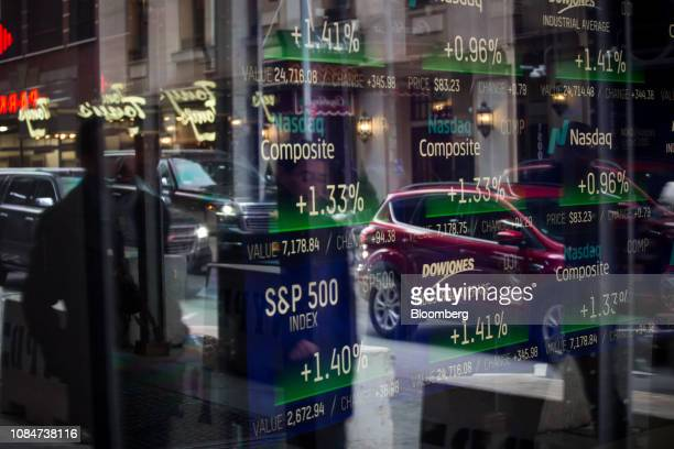 Monitors display stock market information at the Nasdaq MarketSite in New York US on Friday Jan 18 2019 Stocks rose to the highest level in more than...