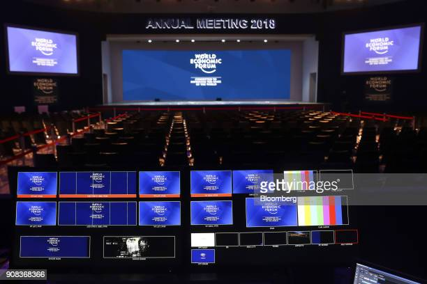 Monitors display the stages area in a session hall in the congress center ahead of the World Economic Forum in Davos Switzerland on Sunday Jan 21...
