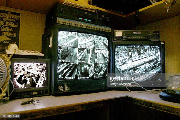 Monitors in the loss prevention room at Twist and Shout a CD record and tape store at Alameda Ave and Grant St in Denver watch sales areas in the...