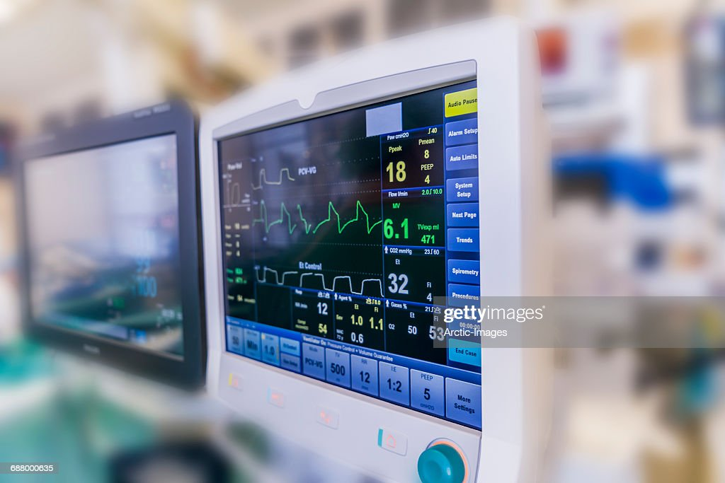 Monitors used during Cardiac Surgery : Stock Photo