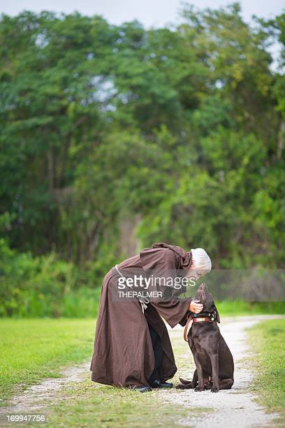 monk and his dog
