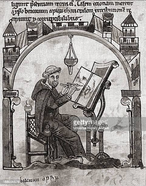 A Monk At His Desk In A Scriptorium C1200 From The Book Short History Of The English People By JR Green Published London 1893