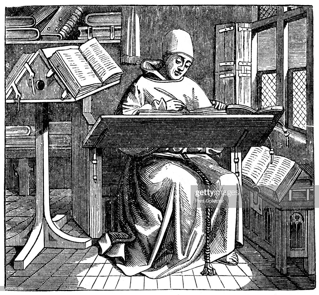 Monk at work on a manuscript in the corner of a scriptorium, 15th century. : News Photo