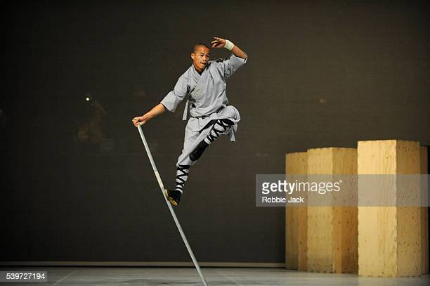 """Monk from the Shaolin Temple performs in Sidi Larbi Cherkaoui and Antony Gormley's production """"Sutra"""" at Sadlers Wells in London."""