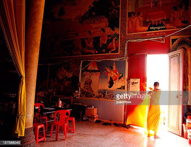 monk in a monastery in cambodia - phnom penh stock pictures, royalty-free photos & images