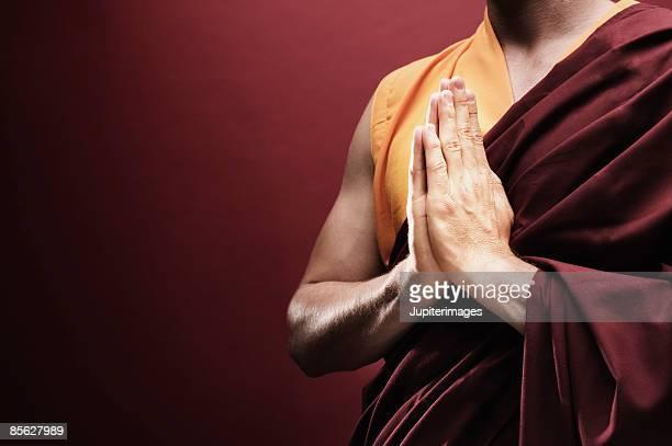 Monk in meditation pose