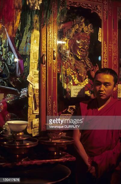 Monk in meru sarpa monastery Lhasa Tibet in Lhasa China