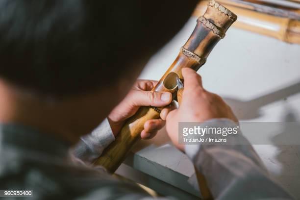 Monk making Korea Bamboo Flute
