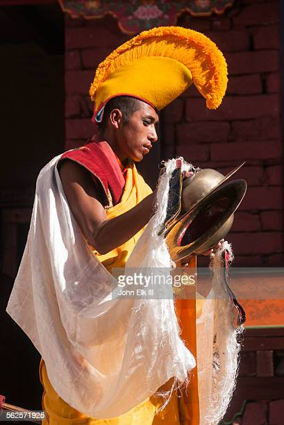 monk playing cymbals - mani rimdu festival stock pictures, royalty-free photos & images