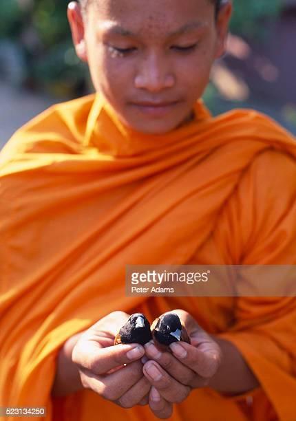 monk releasing birds at temple - vestimenta religiosa - fotografias e filmes do acervo
