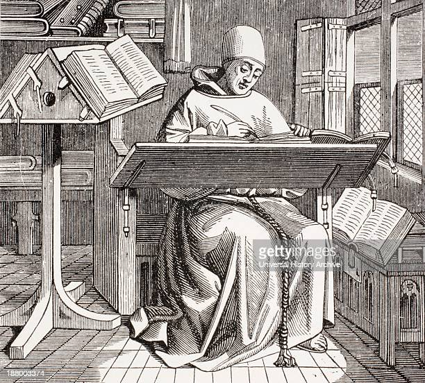 A Monk Scribe Surrounded By Manuscripts And Books Writing At His Desk After A 15Th Century Work From Les Artes Au Moyen Age Published Paris 1873