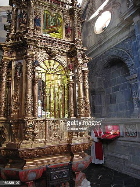 Monk showed the Lignum Crucis inside the Monastery of Santo Toribio de Liebana is a well known relic of Christianity and is believed to be the...