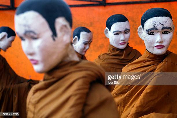 Monk Statues in a Thai temple