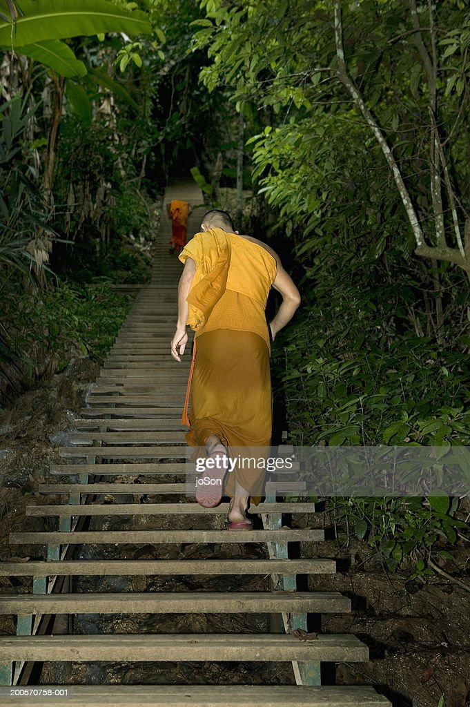 Monk walking up steps Kuang Si Falls, rear view : Stock Photo