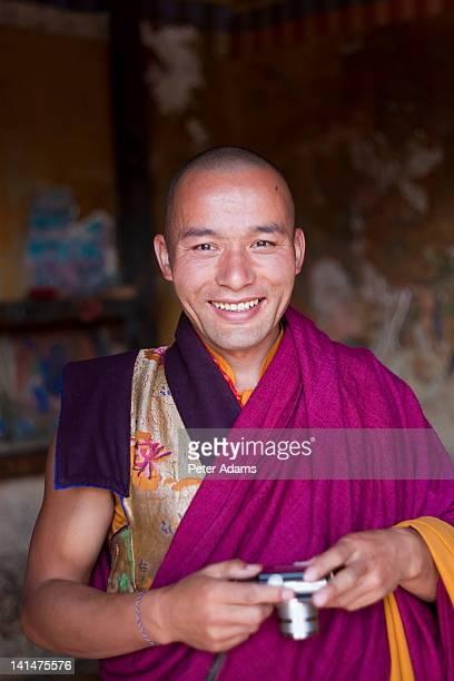 Monk with Camera, Tamshing Monastery, Bhutan