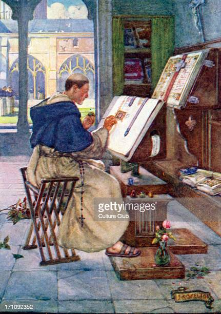 Monk writing illuminated manuscript in a monastery Late nineteenth / early twentieth century illustration by John R Skelton