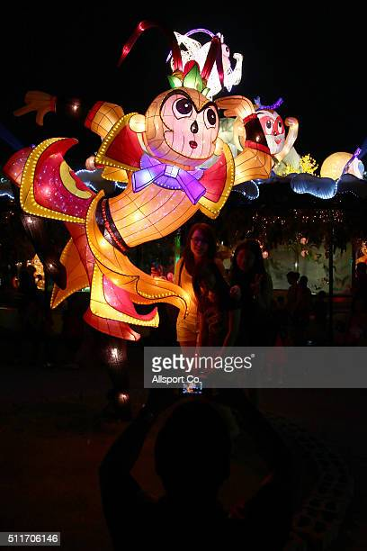 A monkey God lantern is seen at the Fo Guang Shan Ding Zen Temple to celebrate the Lantern Festival on the last day of Chinese Lunar New Year...