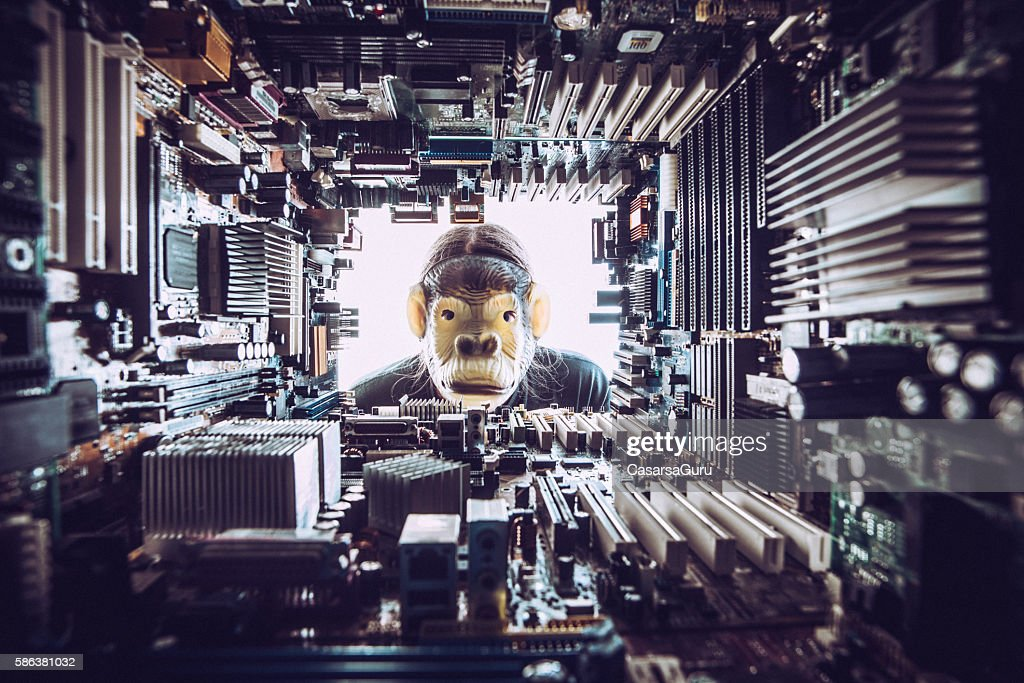 Monkey looking at Technology environment - concept : Stock Photo