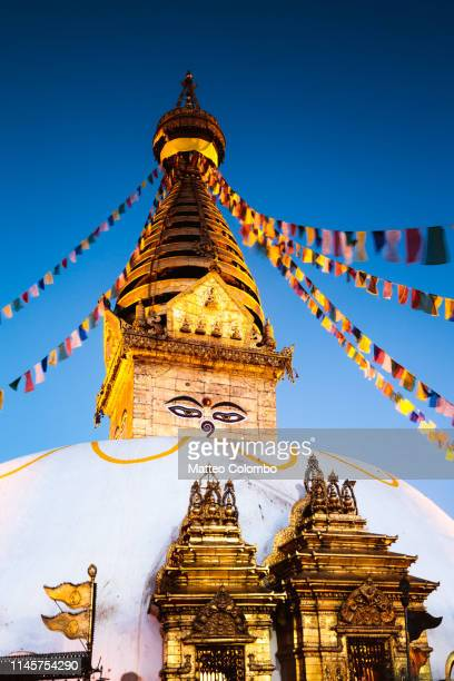 monkey temple at dawn. kathmandu, nepal - stupa stock pictures, royalty-free photos & images